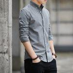 HF13 High Quality Rts Plain Cotton Casual Long Sleeve Wholesale Custom Men Shirts