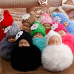 New sleeping baby keychain fake Fur Pom Pom Key Chain Women Trinket Car Key Ring Keychain Jewelry Gift fluffy keychain on bag