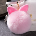 faux fur pompom with ear keychain for bag hanging pink color