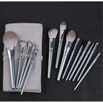 Makeup Accessories Private Label Cosmetic Tools 14pcs Glossy Silver Long Handle Luxury Crystle Powder Makeup Brush Set