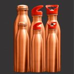 100% COPPER HANDMADE SIPPER LACQUER AYURVEDIC WATER BOTTLE 950 ML